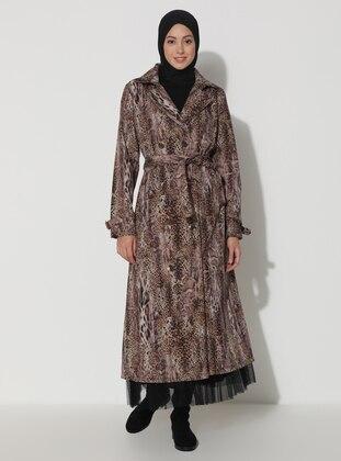 Leopard - Black - Tan - Leopard - Unlined - V neck Collar - Trench Coat