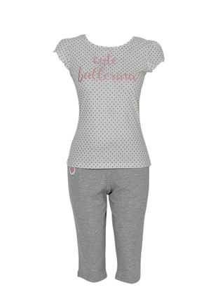 Ecru - Lilac - Crew neck - Pyjama Set