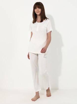 White - Ecru - Crew neck - Pyjama Set