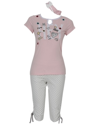 Pink - Crew neck - V neck Collar - Pyjama Set