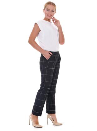 Black - Plaid - - Pants