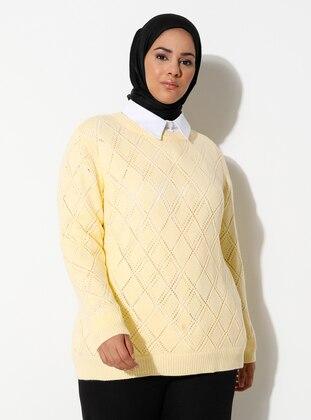 Yellow - Acrylic -  -  - Crew neck - Plus Size Knit Tunics