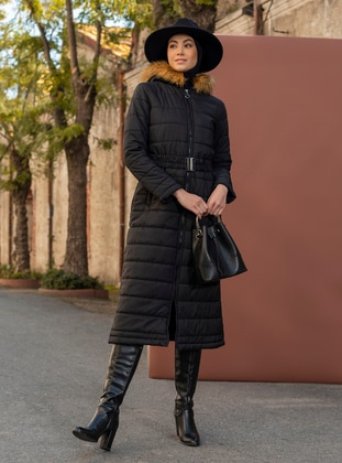 Black - Fully Lined - Coat - Miss Cazibe