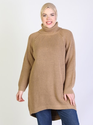 Beige - Acrylic -  -  - Polo neck - Plus Size Knit Tunics