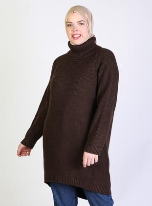 Brown - Acrylic -  -  - Polo neck - Plus Size Knit Tunics