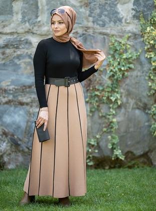 Camel - Black - Unlined - Crew neck - Acrylic -  - Knit Dresses