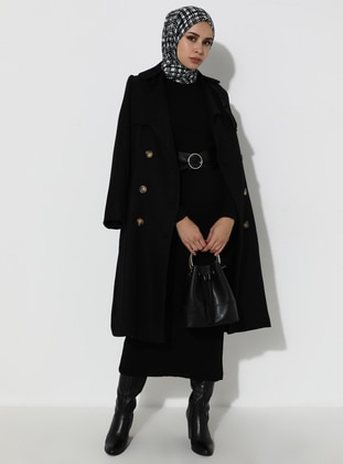 Black - Polo neck - Acrylic -  - Knit Dresses - MODANUR