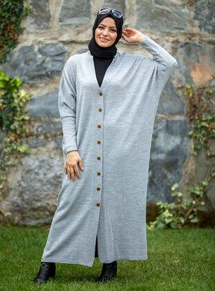 Gray - Multi - Plus Size Cardigans - MODANUR