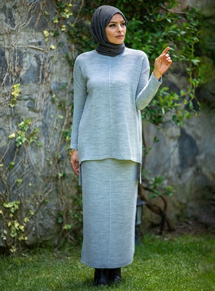 Gray - Unlined - Acrylic - - Knit Suits