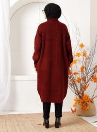 Maroon - Acrylic - - Knit Cardigans