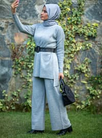 Gray - Acrylic -  - Knit Suits