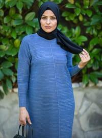 Indigo - Crew neck - Acrylic -  - Knit Dresses