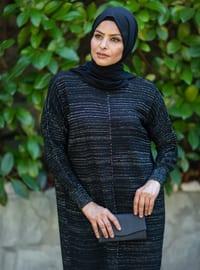 Black - Crew neck - Acrylic -  - Knit Dresses