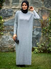 Gray - Crew neck - Acrylic -  - Knit Dresses