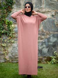Dusty Rose - Crew neck - Acrylic -  - Knit Dresses