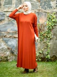 Terra Cotta - Crew neck - Acrylic -  - Knit Dresses