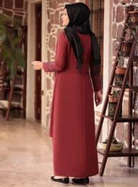 Maroon - Unlined - Crew neck - Muslim Plus Size Evening Dress