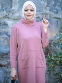 Dusty Rose - Unlined - Polo neck - Acrylic - - Knit Dresses