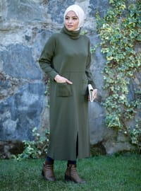 Khaki - Unlined - Polo neck - Acrylic - - Knit Dresses