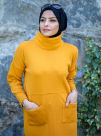 Mustard - Unlined - Polo neck - Acrylic - - Knit Dresses