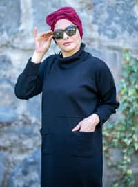 Black - Unlined - Polo neck - Acrylic -  - Knit Dresses