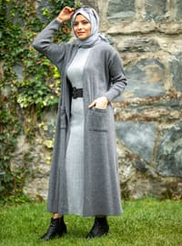 Anthracite - Acrylic -  - Knit Cardigans