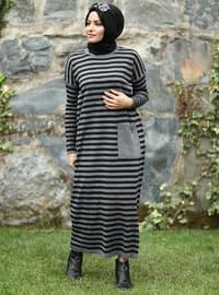 Anthracite - Black - Stripe - Crew neck - Acrylic -  - Knit Dresses