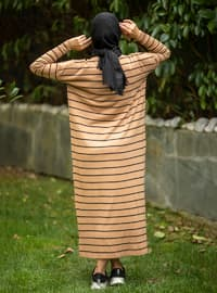 Camel - Stripe - Unlined - Crew neck - Acrylic -  - Knit Dresses