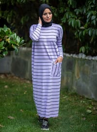 Lilac - Stripe - Unlined - Crew neck - Acrylic -  - Knit Dresses