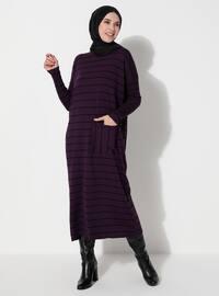 Purple - Stripe - Unlined - Crew neck - Knit Dresses