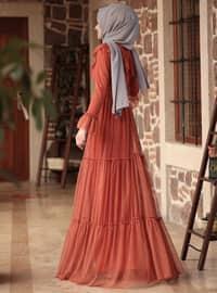 Terra Cotta - Fully Lined - Crew neck - Muslim Evening Dress