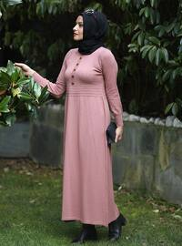 Dusty Rose - Unlined - Crew neck - Acrylic -  - Knit Dresses