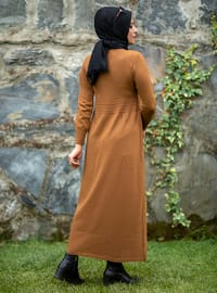 Tan - Unlined - Crew neck - Acrylic -  - Knit Dresses