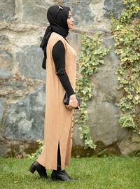 Camel - V neck Collar - Unlined - Knit Tunics