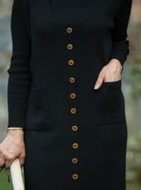 Black - V neck Collar - Unlined - Knit Tunics