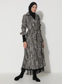 Khaki - Black - Leopard - Unlined - V neck Collar - Trench Coat