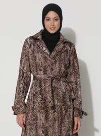 Leopard - Black - Tan - Leopard - Unlined - V neck Collar - Trench Coat