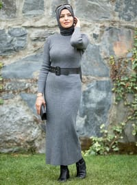 Anthracite - Polo neck - Acrylic -  - Knit Dresses