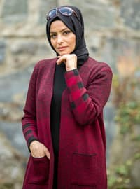 Maroon - Black - Plaid - Unlined - Acrylic -  - Knit Cardigans