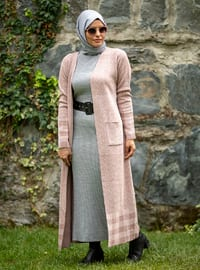 Pink - Powder - Plaid - Unlined - Acrylic -  - Knit Cardigans