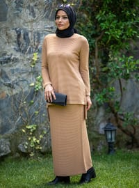 Camel - Unlined - Acrylic - - Knit Suits