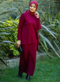 Maroon - Unlined - Acrylic - - Knit Suits