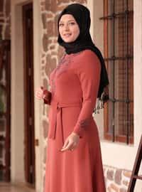 Terra Cotta - Unlined - Crew neck - Muslim Plus Size Evening Dress
