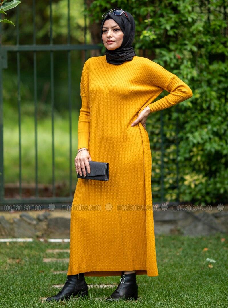 Mustard - Crew neck - Acrylic -  - Knit Dresses