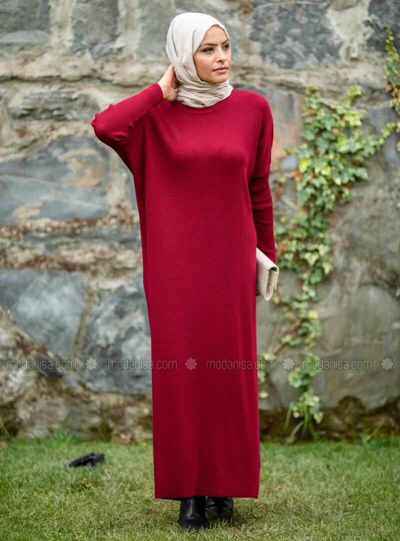 Maroon - Crew neck - Acrylic -  - Knit Dresses