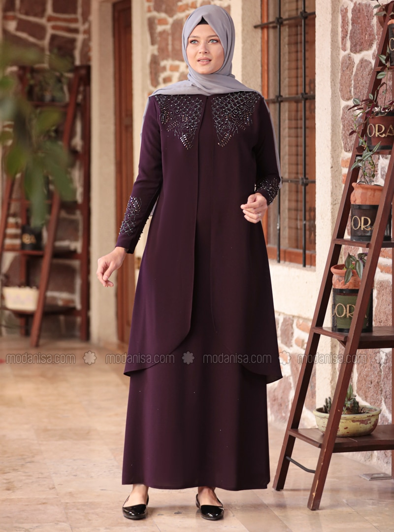 Purple - Unlined - Crew neck - Muslim Plus Size Evening Dress