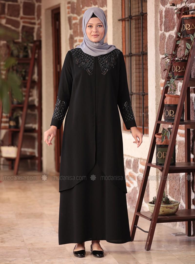 Black - Unlined - Crew neck - Muslim Plus Size Evening Dress