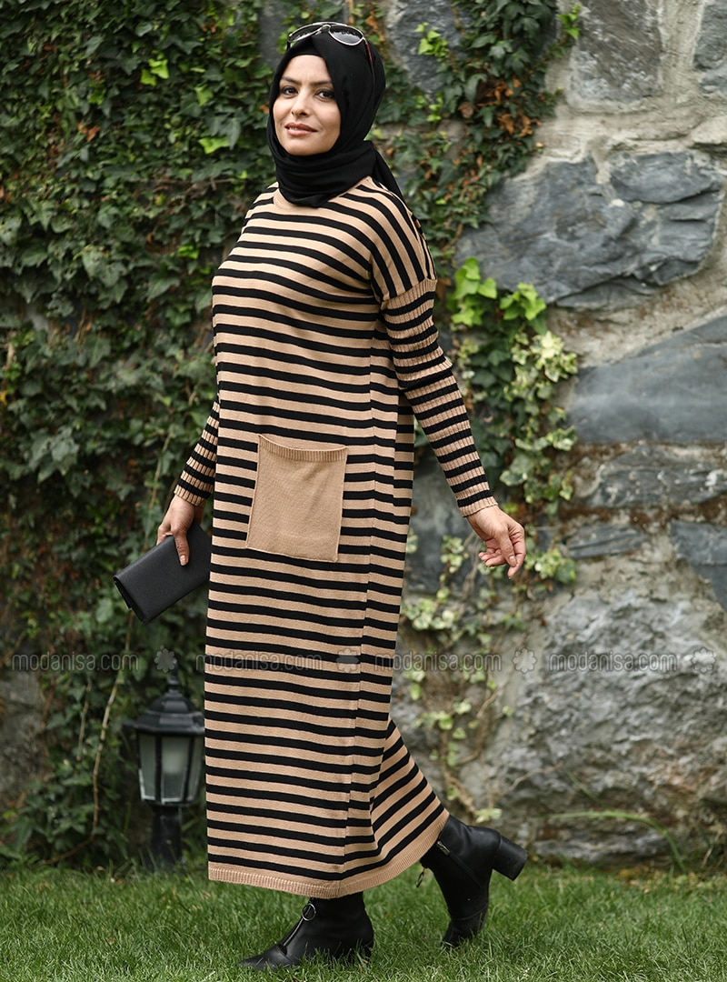 Brown - Black - Tan - Stripe - Crew neck - Acrylic - - Knit Dresses