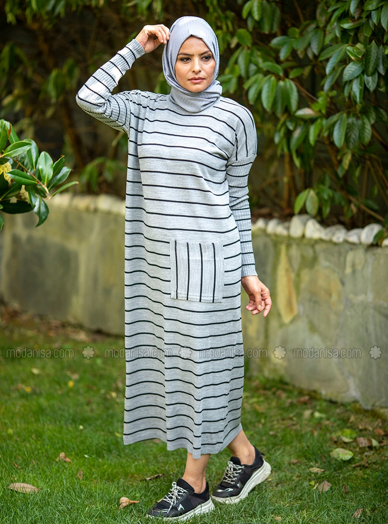 Gray - Stripe - Unlined - Crew neck - Acrylic -  - Knit Dresses
