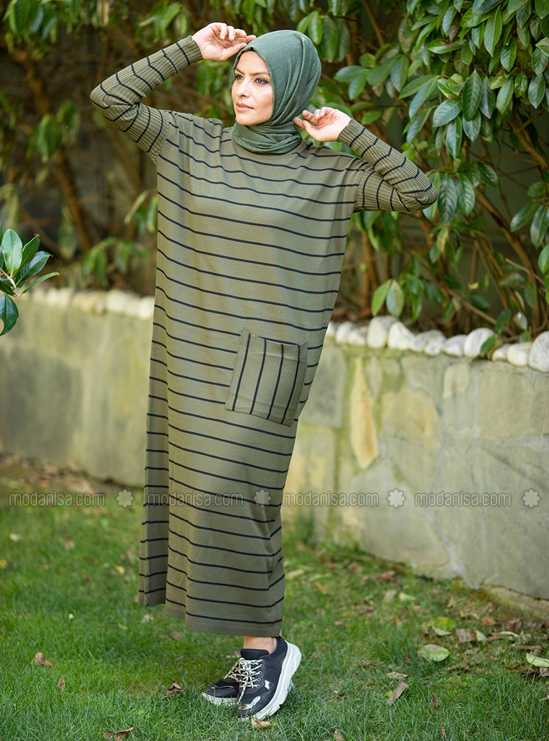 Khaki - Stripe - Unlined - Crew neck - Acrylic -  - Knit Dresses